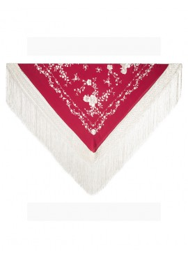 Natural silk hand embroidered Manila shawl